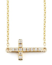 Sydney Evan Small Gold Pave Diamond Cross Necklace Gold