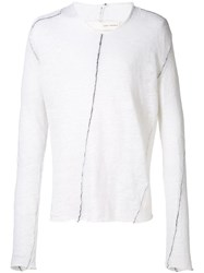 Isabel Benenato V Neck Sweater White