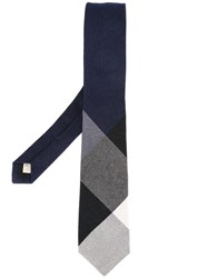 Burberry Ribbed Detailing Tie Blue