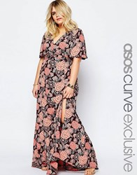 Asos Curve Maxi Dress In Vintage Floral Print Multi