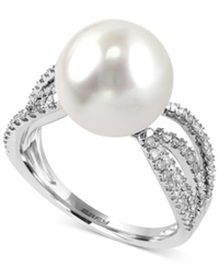 Effy Collection Effy South Sea Pearl 11Mm And Diamond 1 2 Ct. T.W. Ring In 14K White Gold