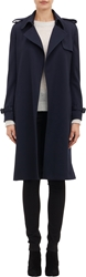 Barneys New York Crepe Trench Coat Md. Blue