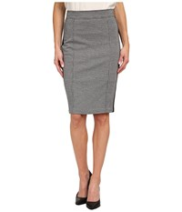 Nydj Knit Jacquard Ponte Mix Pencil Skirt Black Houndstooth Women's Skirt Multi