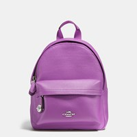 Coach Mini Campus Backpack In Pebble Leather Silver Orchid