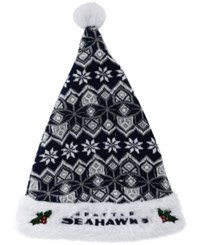 Forever Collectibles Seattle Seahawks Knit Sweater Santa Hat Navy Gray