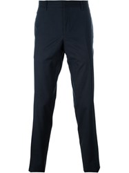 Burberry Prorsum Pleated Tapered Trousers Blue