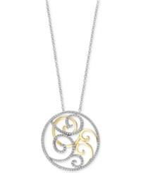 Effy Collection Duo By Effy Diamond Two Tone Swirl Pendant Necklace 9 10 Ct. T.W. In 14K Gold And White Gold
