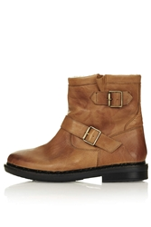 Topshop Animal Faux Fur Lined Boots Tan