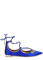 Aquazzura Christy Blue Crystal Embellished Satin Flats