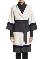 St. John Colorblock Wool Cashmere Wrap Coat White Grey