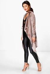 Boohoo Velvet Waterfall Belted Jacket Mocha