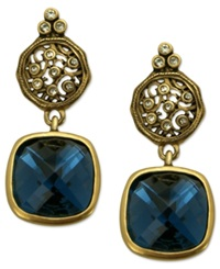 T Tahari Earrings 14K Gold Plated Essentials Montana Blue Scroll Drop Earrings