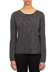 William Rast Faux Leather Trimmed Knit Sweater Black Combo