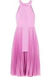 Halston Heritage Pleated Crepe Midi Dress Violet