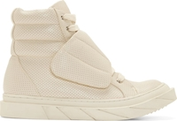 D By D Ivory Perforated Leather High Top Sneakers