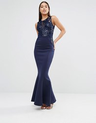 Lipsy Michelle Keegan Loves Sequin Top Maxi Dress Navy