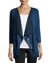 Neiman Marcus Layered Lace 3 4 Sleeve Cardigan Navy