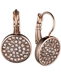 Anne Klein Rose Gold Tone Pave Disc Drop Earrings