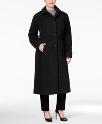 Jones New York Plus Size Maxi Walker Coat Black