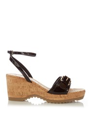 Stella Mccartney Linda Faux Leather And Cork Wedge Sandals