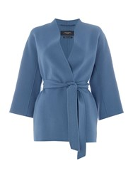 Max Mara Cabiria Double Faced Wool Short Belted Coat Blue