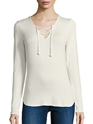Saks Fifth Avenue Lace Front Jersey Top Ivory