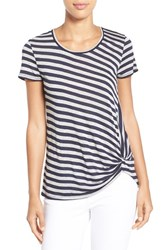 Women's Gibson Twist Front Stripe Tee Navy Heather Grey