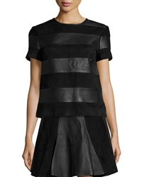 Michael Michael Kors Short Sleeve Leather And Suede Tee Black