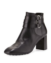 Tod's Leather Buckle Strap Ankle Boot Black