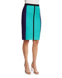 St. John Boucle Knit Colorblock Pencil Skirt Seafoam Multi Seafoam Multi