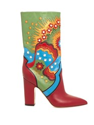 Valentino Enchanted Wonderland Leather Boots Red Multi