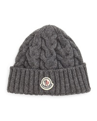 Cashmere Cable Knit Hat Gray Gray Moncler