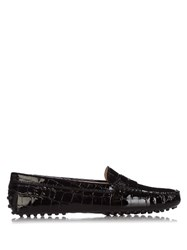 Tod's Gommini Crocodile Effect Leather Loafers Black