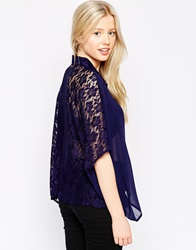 Girls On Film Crop Shirt With Lace Back Navy
