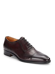 Saks Fifth Avenue Leather Perforated Lace Up Oxfords Bordeaux