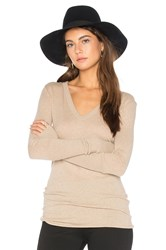 Enza Costa Rib Cuff V Neck Long Sleeve Tee Beige
