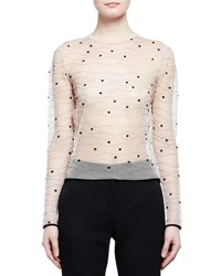 Alexander Mcqueen Long Sleeve Sheer Wave Dot Top Nude Black Tan
