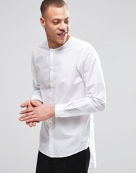 Weekday Grimm Collarless Regular Fit Shirt Long Tail In White White 10 100