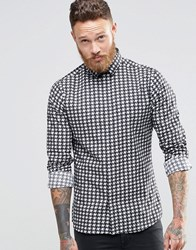 Noose And Monkey Skinny Shirt In Dogtooth Black