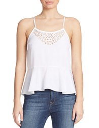 Guess Embellished Peplum Tank Top White