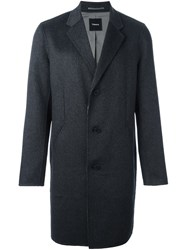 Theory Reversible Single Breasted Coat Grey
