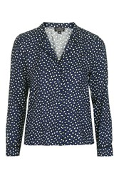Topshop Petite Smudge Animal Pyjama Shirt Navy Blue