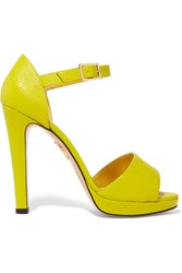 Charlotte Olympia Unfurnished Neon Lizard Effect Leather Sandals Yellow
