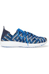 Nike Juvenate Leather Trimmed Woven Grosgrain Sneakers Blue