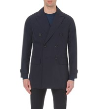 Hardy Amies Double Breasted Shell Trench Coat Navy