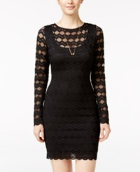 Jump Juniors' Cutout Back Lace Bodycon Dress Black