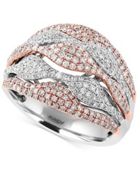 Effy Collection Pave Rose By Effy Diamond Wave Ring 1 Ct. T.W. Ring In 14K White And Rose Gold Two Tone