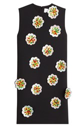 Victoria Victoria Beckham Crepe Shift Dress With Sequin Flower Applique Black