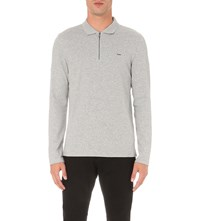 Michael Kors Long Sleeve Half Zip Polo Shirt Heather Grey
