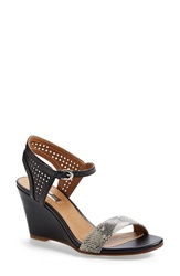 Halogen 'Helen' Perforated Leather Ankle Strap Wedge Sandal Women Snake Print Black